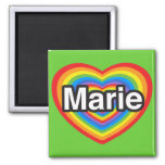I love Marie. I love you Marie. Heart Refrigerator Magnet