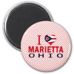 I love Marietta, Ohio 2 Inch Round Magnet