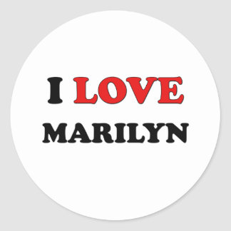I Love Marilyn Round Stickers