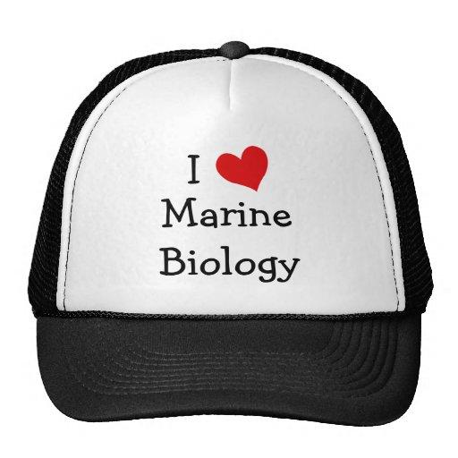 I Love Marine Biology Hats