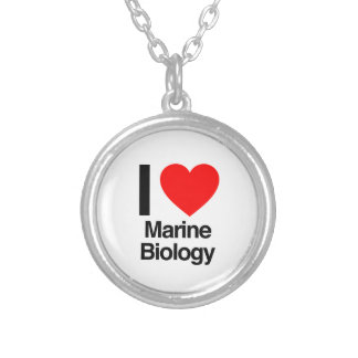 i love marine biology silver plated necklace