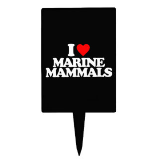 I LOVE MARINE MAMMALS CAKE PICKS