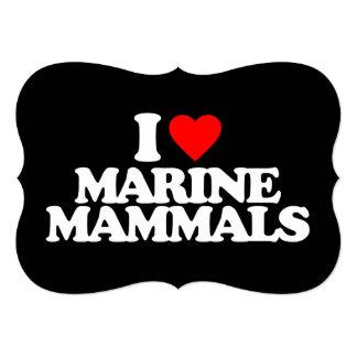 I LOVE MARINE MAMMALS 5X7 PAPER INVITATION CARD