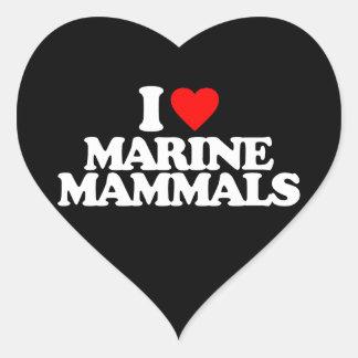 I LOVE MARINE MAMMALS HEART STICKERS