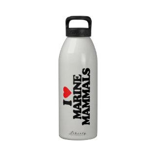 I LOVE MARINE MAMMALS REUSABLE WATER BOTTLES