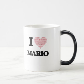 I Love Mario (Heart Made from Love words) 11 Oz Magic Heat Color-Changing Coffee Mug