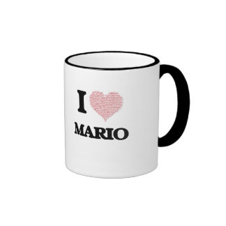 I Love Mario (Heart Made from Love words) Ringer Coffee Mug