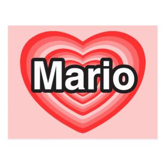I love Mario. I love you Mario. Heart Postcard