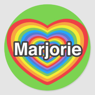 I love Marjorie. I love you Marjorie. Heart Classic Round Sticker