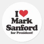 I Love Mark Sanford for President Classic Round Sticker