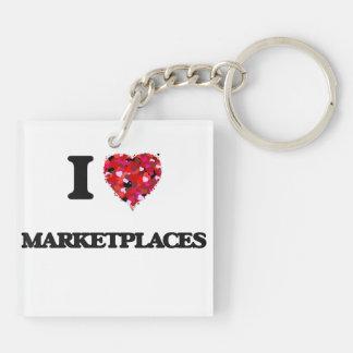 I Love Marketplaces Double-Sided Square Acrylic Keychain