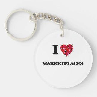 I Love Marketplaces Single-Sided Round Acrylic Keychain