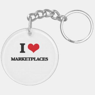 I Love Marketplaces Double-Sided Round Acrylic Keychain