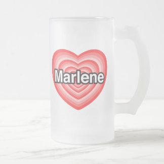 I love Marlene. I love you Marlene. Heart Frosted Glass Beer Mug