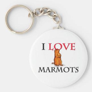 I Love Marmots Keychain