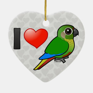 I Love Maroon-bellied Conures Ceramic Ornament
