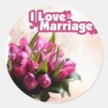 I Love Marriage Beautiful Flowers Round Sticker