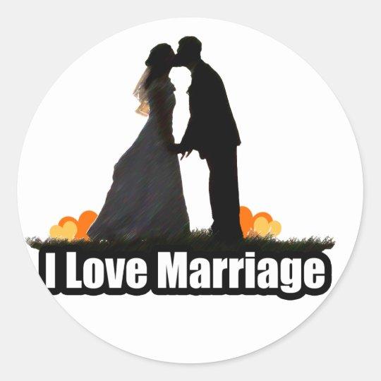 I Love Marriage Kiss the Bride Classic Round Sticker