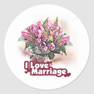 I Love Marriage Wedded Bliss Classic Round Sticker