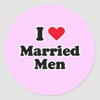 I love married men classic round sticker
