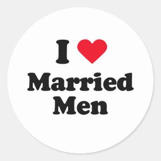 I love married men round sticker