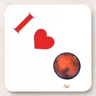 I Love Mars Drink Coasters