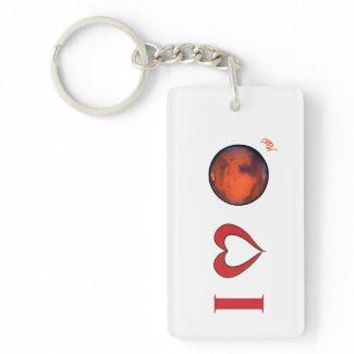 I Love Mars Keychain