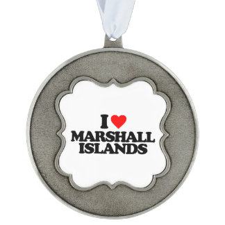 I LOVE MARSHALL ISLANDS SCALLOPED PEWTER ORNAMENT