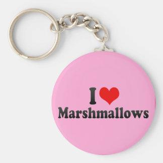 I Love Marshmallows Basic Round Button Keychain