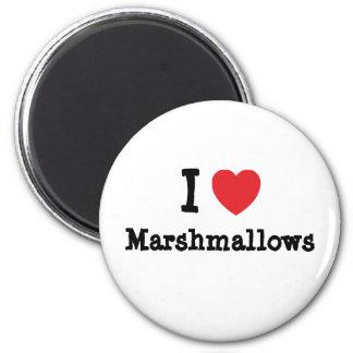 I love Marshmallows heart T-Shirt 2 Inch Round Magnet