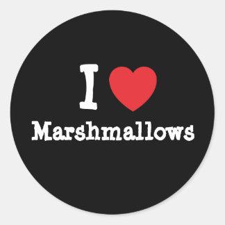 I love Marshmallows heart T-Shirt Classic Round Sticker