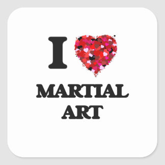 I Love Martial Art Square Sticker