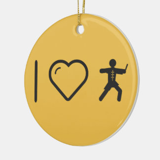 I Love Martial Arts Double-Sided Ceramic Round Christmas Ornament