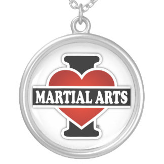 I Love Martial Arts Silver Plated Necklace
