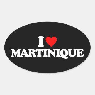 I LOVE MARTINIQUE OVAL STICKER