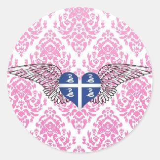 I Love Martinique -wings Classic Round Sticker
