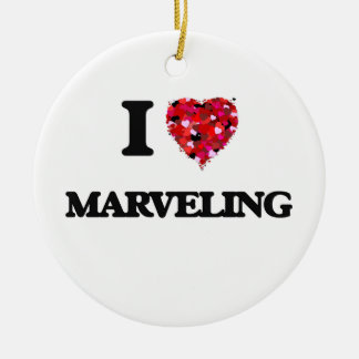 I Love Marveling Double-Sided Ceramic Round Christmas Ornament