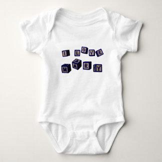 I love Mary toy blocks in blue Baby Bodysuit