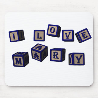 I love Mary toy blocks in blue Mouse Pad