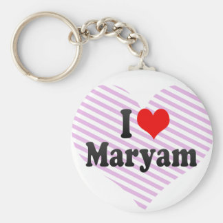 I love Maryam Basic Round Button Keychain