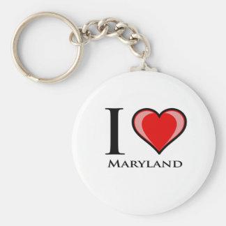 I Love Maryland Basic Round Button Keychain