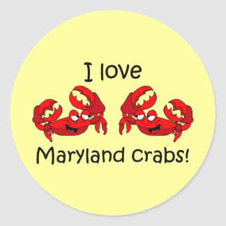 I love maryland crabs! classic round sticker