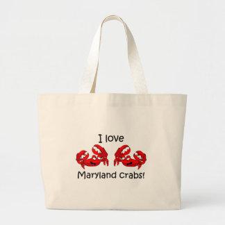 I love maryland crabs! large tote bag