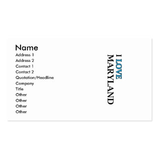 I Love Maryland Design Double-Sided Standard Business Cards (Pack Of 100)