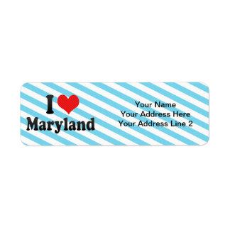 I Love Maryland Custom Return Address Labels