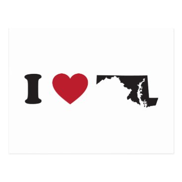 Valentines Themed I Love Maryland Postcard