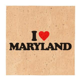 I LOVE MARYLAND BEVERAGE COASTER