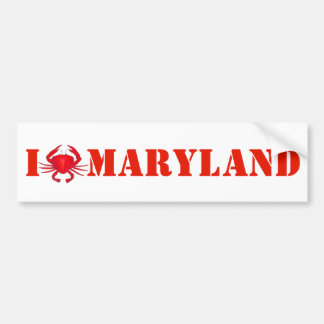 I Love Maryland Red Crab Crabs Bumper Sticker