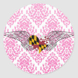 I Love Maryland -wings Round Sticker