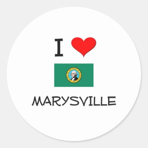 I Love Marysville Washington Round Sticker